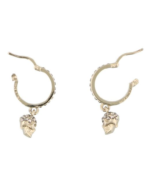 Alexander McQueen - Metallic Crystal Embellished Skull Earrings - Lyst