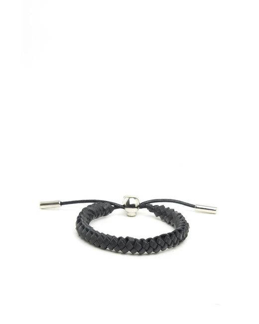 Alexander McQueen - Black Woven Leather Bracelet for Men - Lyst