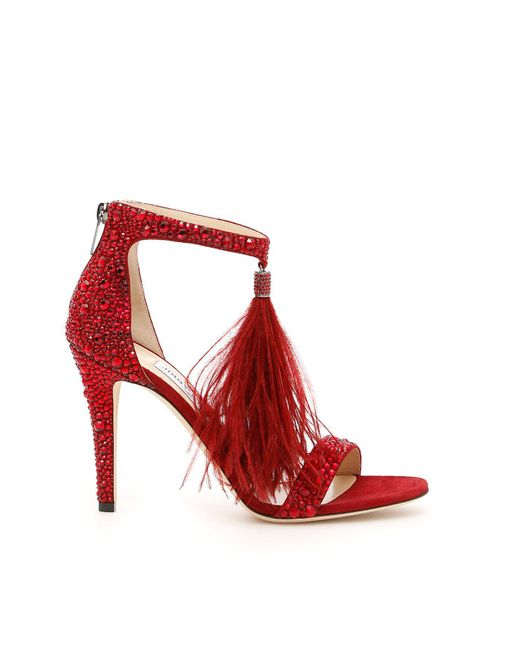 Jimmy Choo - Red Crystal And Feather Viola Sandals - Lyst