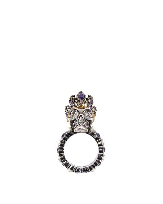 Alexander McQueen - Metallic Crowned Skull Ring - Lyst
