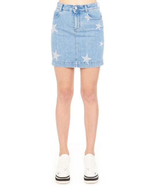 Stella McCartney - Blue Star Detail Denim Skirt - Lyst