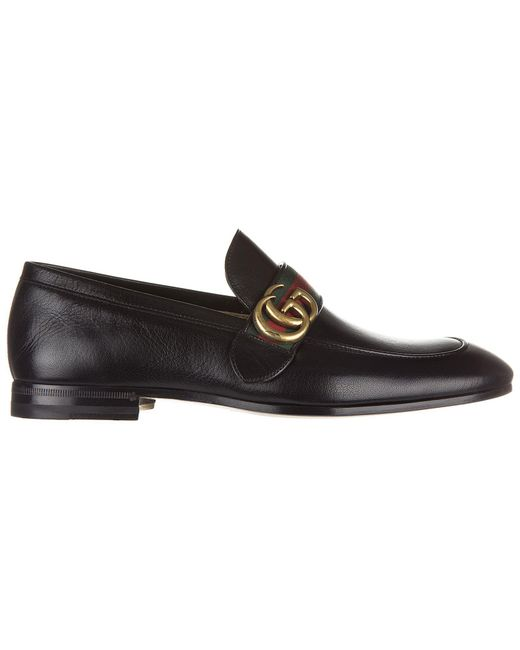 2ae7f9fb9ad Lyst - Gucci Metal Logo Loafers in Black