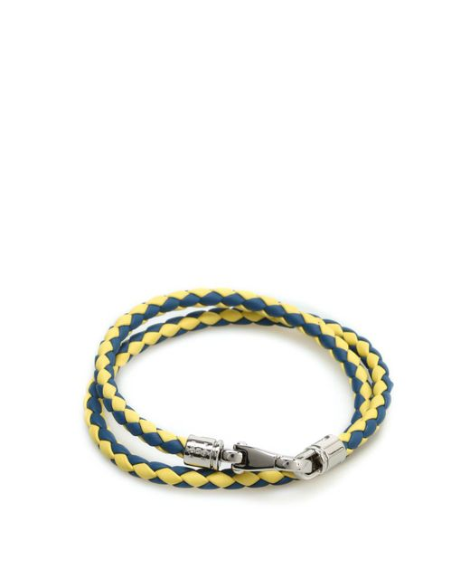 Tod's - Green Braided Leather Wrap Bracelet - Lyst