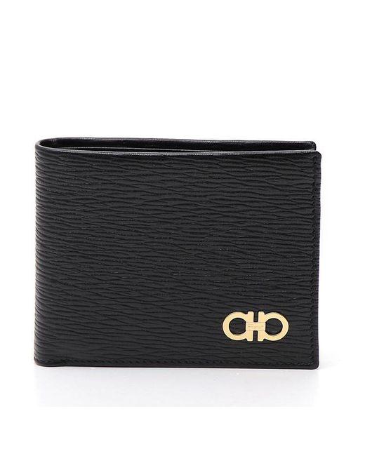 Ferragamo - Black Double Gancio Bilfold Wallet for Men - Lyst