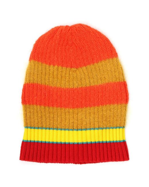 KENZO - Yellow Striped Beanie for Men - Lyst