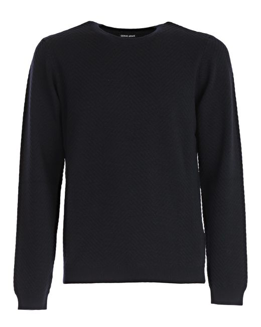 Giorgio Armani - Blue Roundneck Knitted Sweater for Men - Lyst