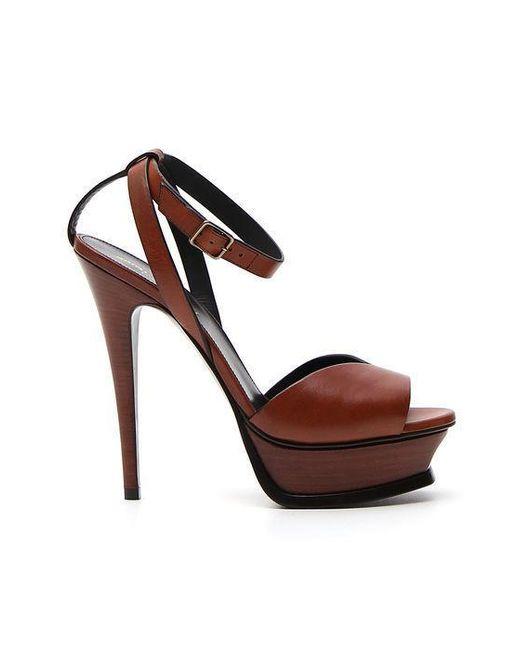 Saint Laurent - Brown Tribute Leather Sandals - Lyst