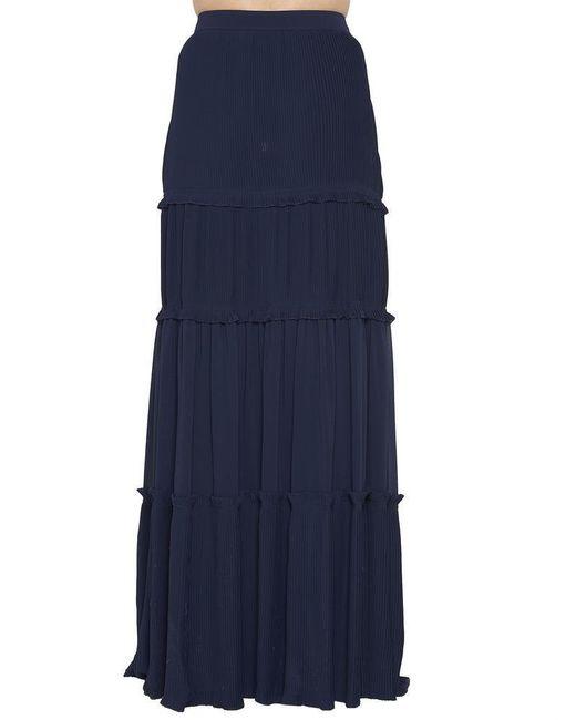 Tory Burch - Blue Stella Tiered Maxi Skirt - Lyst