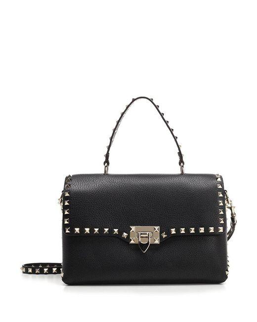 Valentino - Black Garavani Rockstud Flap Tote Bag - Lyst