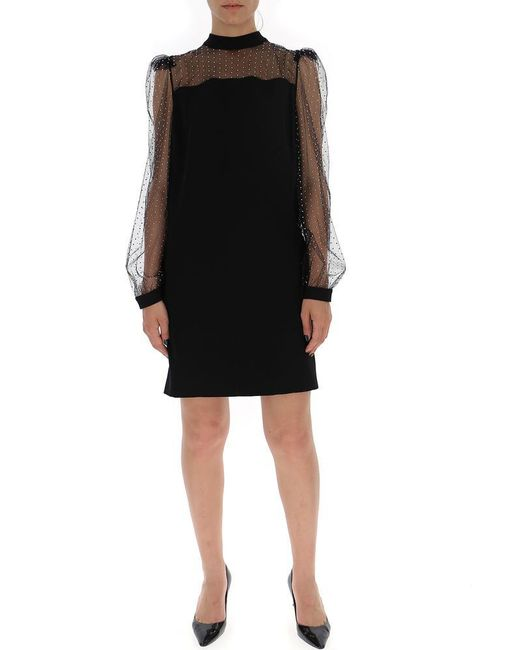 Givenchy - Black See-through Detail Shift Dress - Lyst