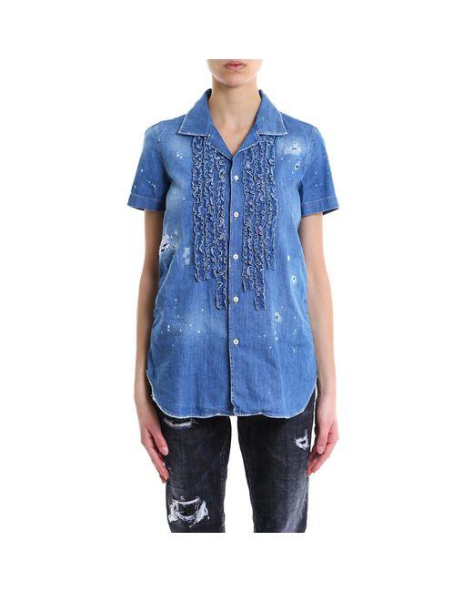 DSquared² - Blue Ruffled Short Sleeve Denim Shirt - Lyst