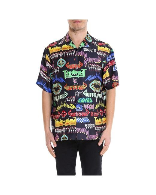 ed68c445352 Gucci - Multicolor Printed Short Sleeve Shirt for Men - Lyst