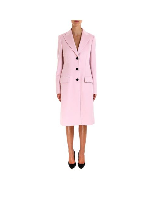 Dolce & Gabbana - Pink Single Breasted Long Coat - Lyst