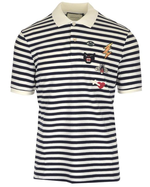 46a6279901a Lyst - Gucci Patch Detail Polo Shirt in Blue for Men