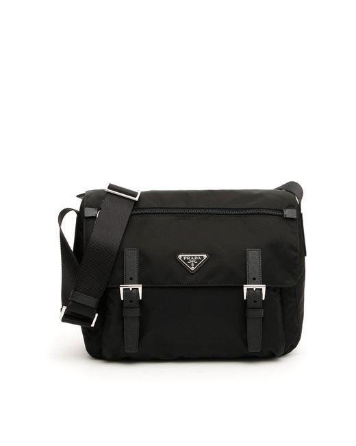2c0062d5fc07 ... order prada black vela messenger bag for men lyst 5777c 2e47c