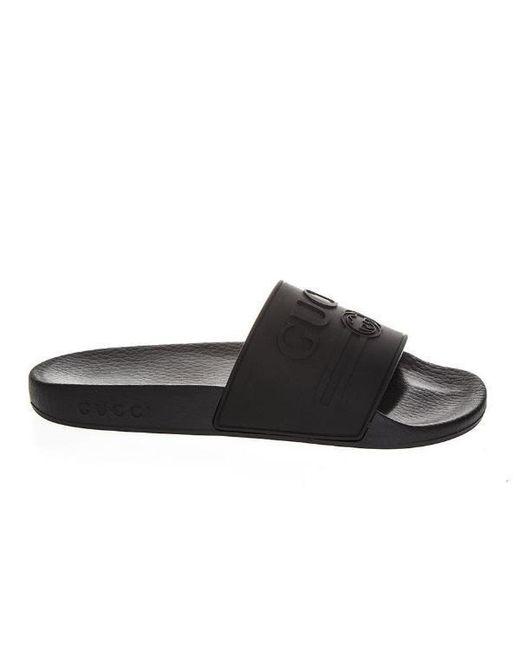 ea5444211301 Lyst - Gucci Logo Slides in Black