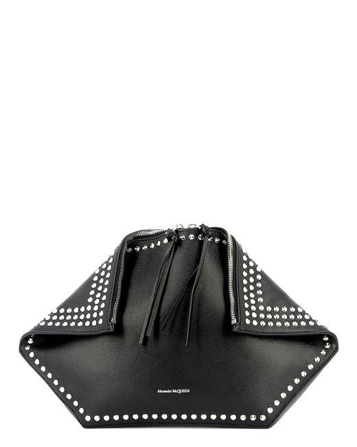 Alexander McQueen Black Logo Studded Clutch Bag