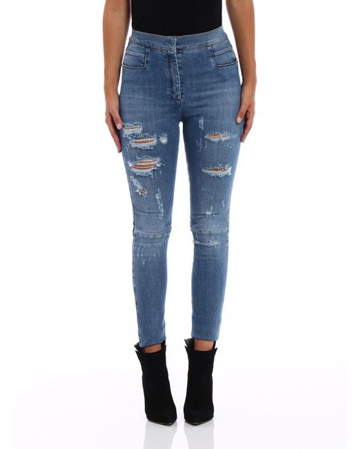 Balmain - Blue Distressed Skinny Jeans - Lyst
