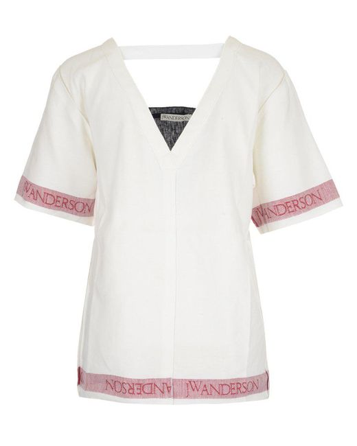 J.W. Anderson - White V-neck Linen Top - Lyst