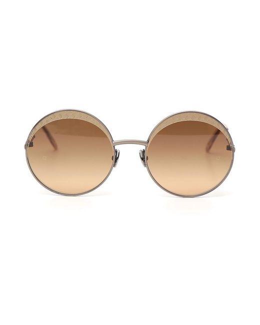 Bottega Veneta - Brown Intrecciato Circle Framed Sunglasses - Lyst
