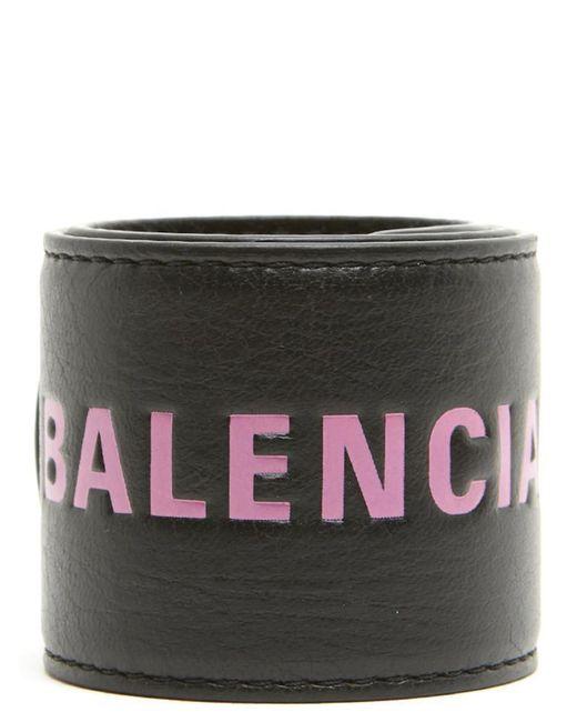 Balenciaga - Black Branded Cuff Bracelet - Lyst