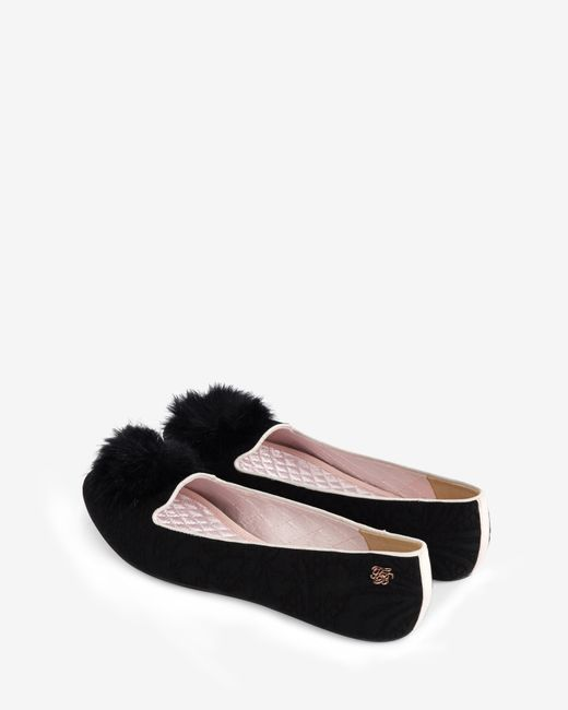 Ted Baker | Black Pom Pom Slippers | Lyst