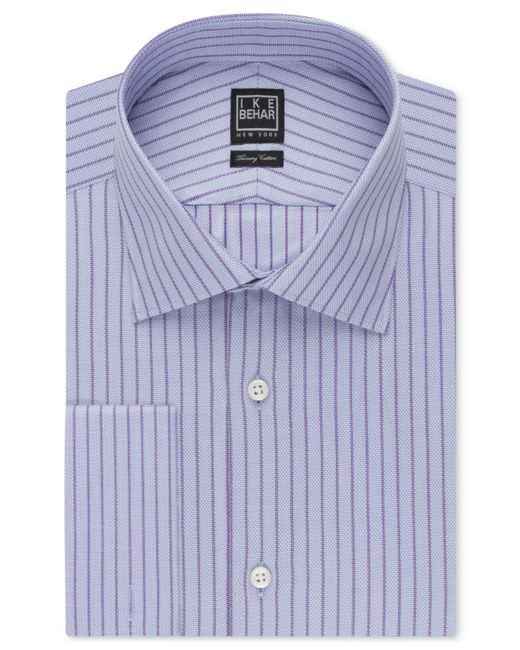 Ike Behar Light Purple Stripe Dress Shirt In Purple For