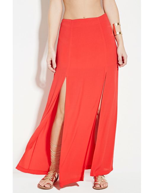 forever 21 high slit maxi skirt in save 31 lyst
