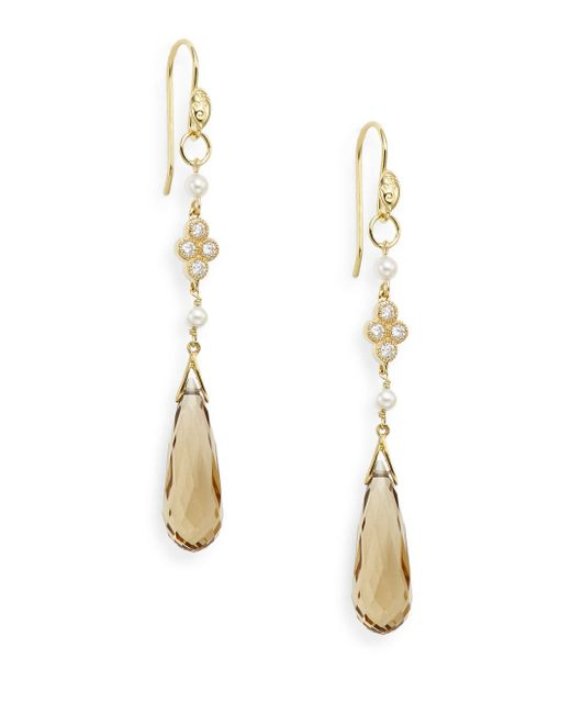 Jude Frances | Metallic 3mm White Round Freshwater Pearl, Citrine & 18k Yellow Gold Drop Earrings | Lyst