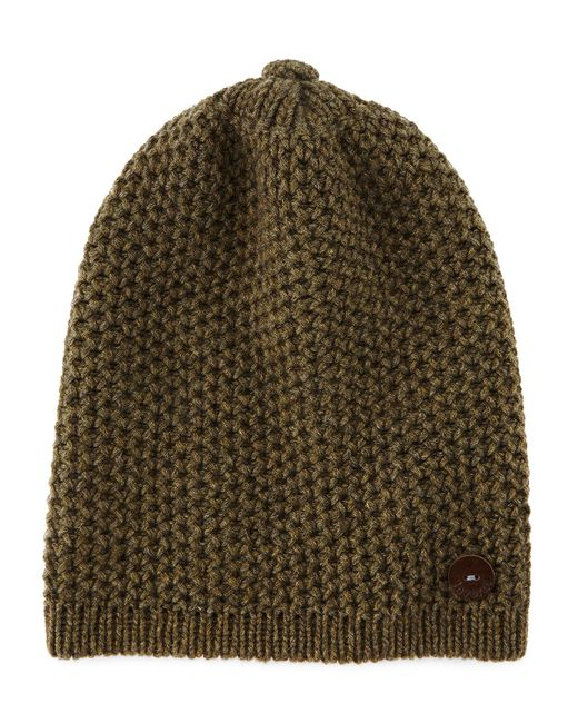 Inverni | Green Cashmere Slouchy Hat W/button | Lyst