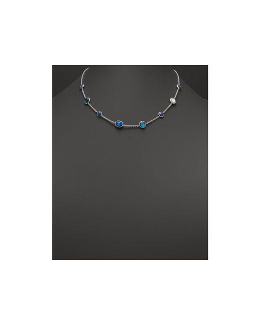 "Ippolita | Blue Rock Candy Sterling Silver Wonderland Mini Gelato Short Station Necklace In Dark Sea, 16"" | Lyst"