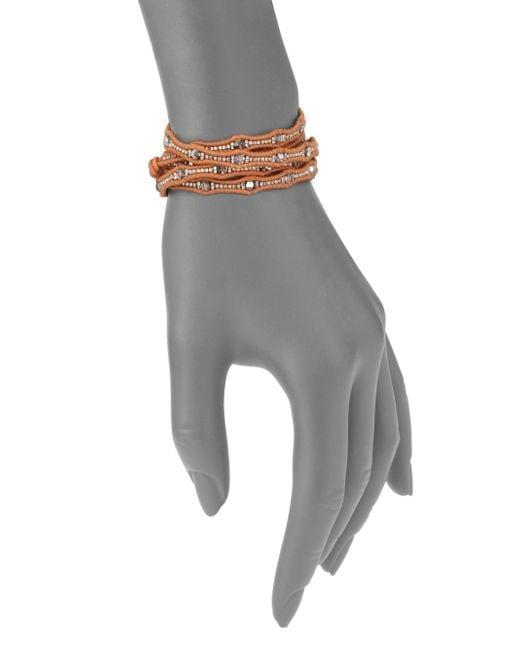 Chan Luu   Metallic Crystal & Leather Multi-row Beaded Wrap Bracelet   Lyst