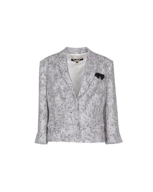 Elisabetta Franchi | Gray Cropped Crepe Blazer  | Lyst