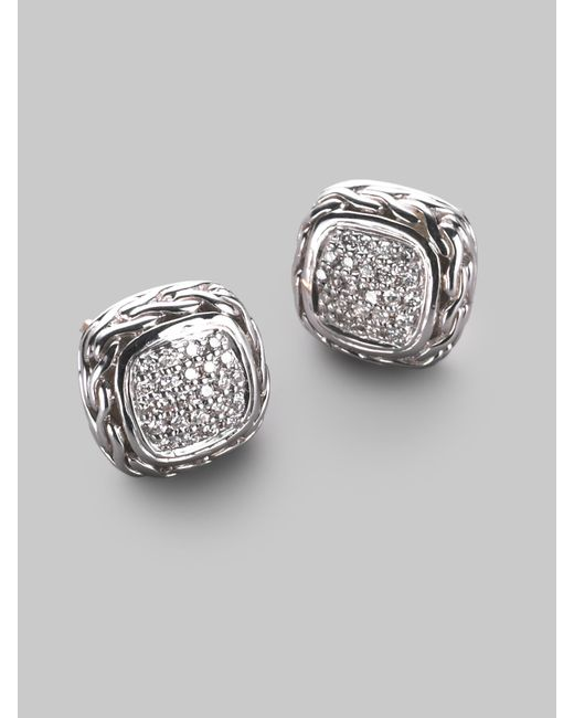 John Hardy | Metallic Classic Chain Diamond & Sterling Silver Small Square Stud Earrings | Lyst
