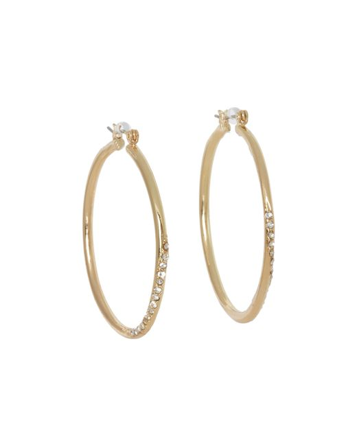 Guess | Metallic Hoop With Stones Earring | Lyst