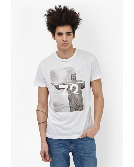 french connection rio 72 graphic marlon t shirt in black for men optic white lyst. Black Bedroom Furniture Sets. Home Design Ideas