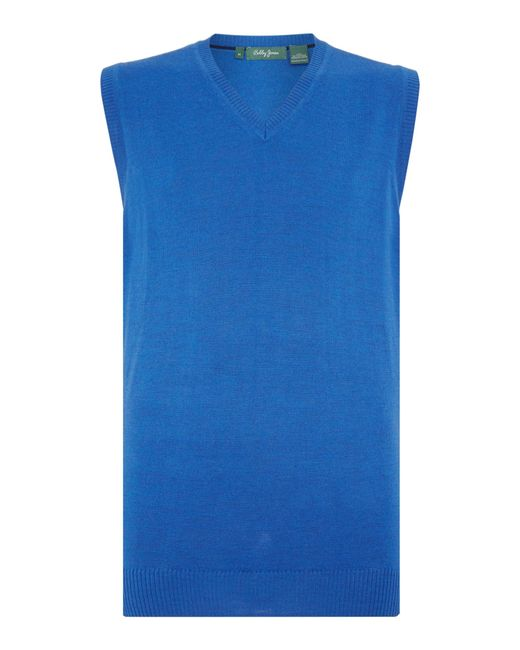 Bobby Jones | Blue Solid Merino V Neck Vest for Men | Lyst