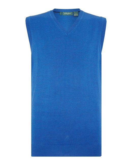 Bobby Jones | Blue Solid Merino V Neck Vest for Men | Lyst