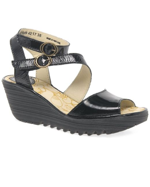 Fly London | Black Yisk Womens Wedge Heel Sandals | Lyst