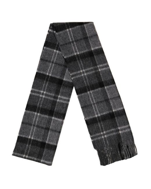 Barbour - Black Merino Lambswool And Cashmere Fringe Scarf for Men - Lyst