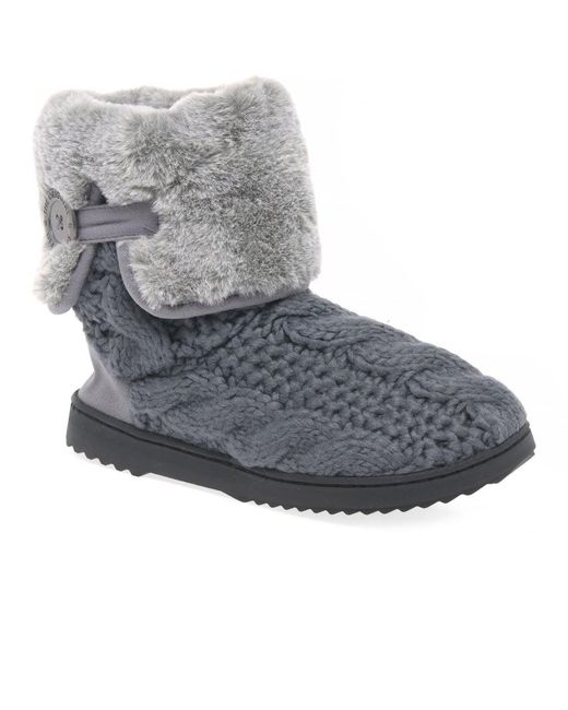 Dearfoams - Gray Cable Knit Womens Slipper Boots - Lyst