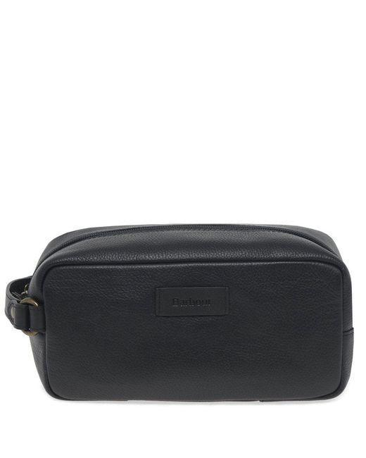 9340068adf Barbour - Black Leather Handle Zip Fastening Wash Bag for Men - Lyst ...
