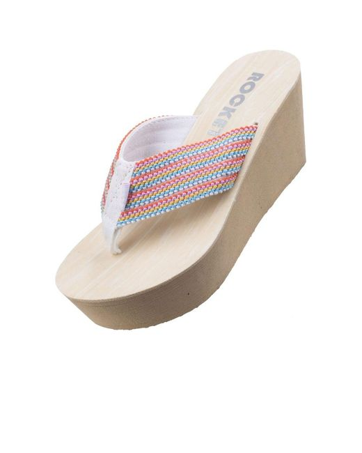 7f6a70b7836 ... Rocket Dog - Pink Diver Groovy Stripe Womens Wedge Sandals - Lyst ...