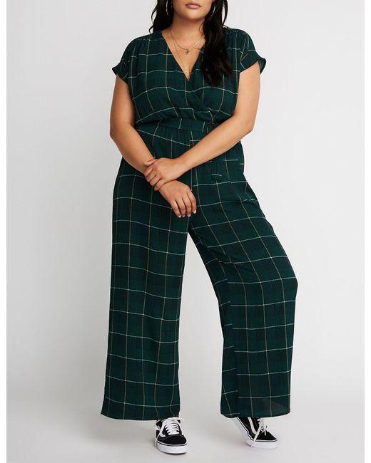 6ef03118b648 Lyst - Charlotte Russe Plus Size Glen Plaid Wide Leg Jumpsuit in Green