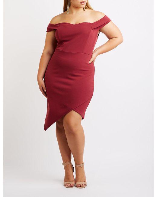 Lyst Charlotte Russe Plus Size Off The Shoulder Asymmetrical Dress