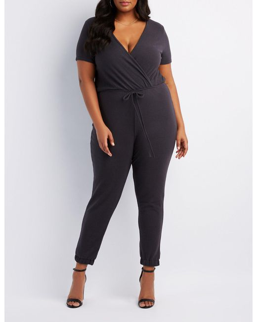 bd8e25ae4a2 Lyst - Charlotte Russe Plus Size Wrap Jumpsuit in Gray - Save 36%