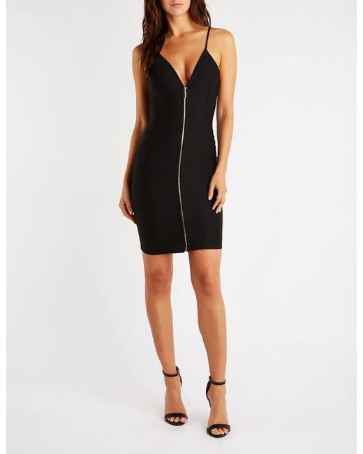 dd83d2ebc56 Lyst - Charlotte Russe Zip Front Deep V Bodycon Dress in Black