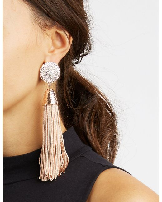 Charlotte Russe - Metallic Fringe Tassel Earrings - Lyst