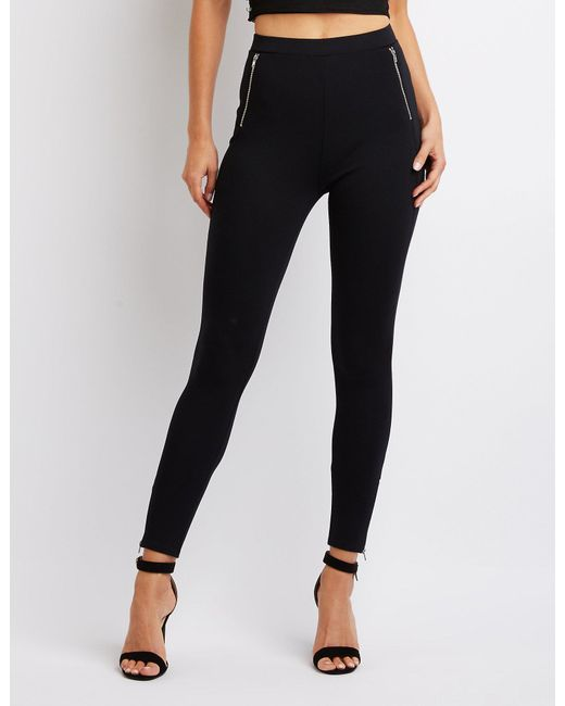 Charlotte Russe - Black Zipper-trim High-rise Ponte Knit Leggings - Lyst