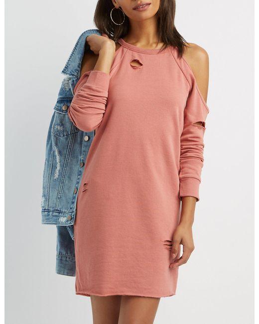 8346b343b9b Charlotte Russe - Pink Destroyed Cold Shoulder Sweatshirt Dress - Lyst ...
